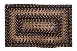 Ebony Black and Tan Braided Rug Floor Runner, Rectangular (22 x 72 inch)