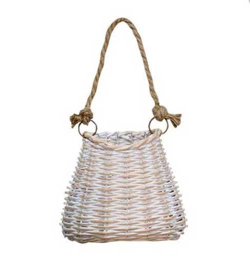 Whitewashed Small Hanging Basket