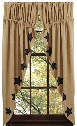 Burlap Black Star Prairie Curtain (63 inch)