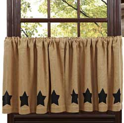 Burlap Black Star Cafe Curtains - 24 inch Tiers