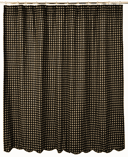 Black Check Shower Curtain (Black and Tan)