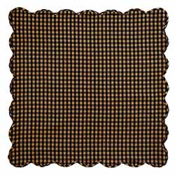 Black Check Tablecloth, Scalloped - 60 x 60 (Black and Tan)