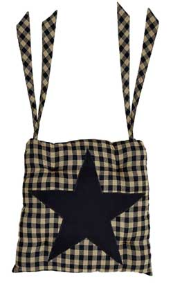 Black Star Chair Pad (Black and Tan)