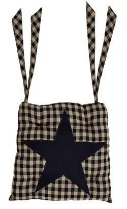Black Star Chair Pad (Black and Tan)