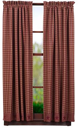 Burgundy Applique Star Panels - 63 inch