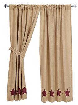 Burgundy Star Burlap Curtain Panels (63 inch)