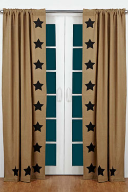 Burlap Black Star Panels (84 inch)