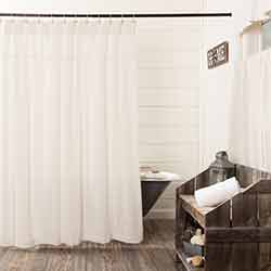 Burlap Antique White Shower Curtain