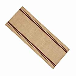 Burlap Table Runner with Red Stripes