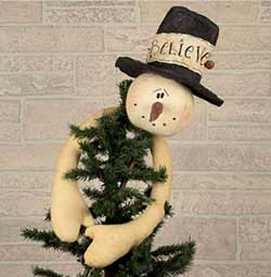 Hugging Snowman Tree Topper with Top Hat