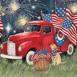 Old Glory Red Truck Paper Cocktail Napkins