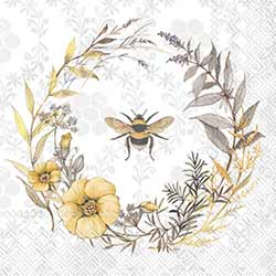 Bee Wildflower Wreath Paper Cocktail Napkins