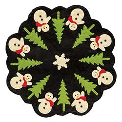 Snowman and Tree Candle Mat