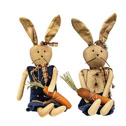 Primitive Bunnies in Blue (Set of 2)