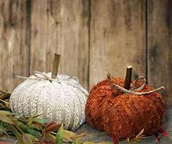 Mini Chenille Pumpkins (Set of 2)