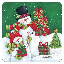 Snowpeople With Gifts Coaster