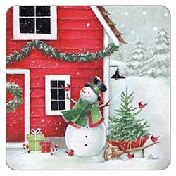 Snowman at the Farmhouse Coaster