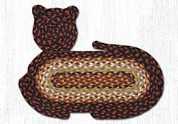 Burgundy, Mustard, & Ivory Braided Cat Rug