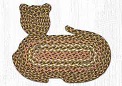 Olive, Burgundy, & Gray Braided Cat Rug