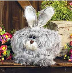 Roly Poly Fuzzy Gray Bunny Doll - Large