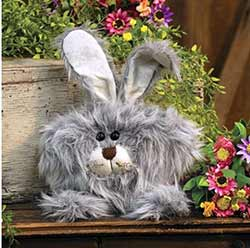 Roly Poly Fuzzy Gray Bunny Doll - Medium