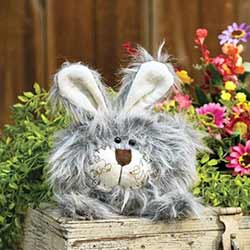 Roly Poly Fuzzy Gray Bunny Doll - Small