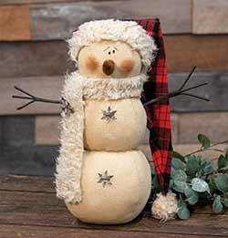 Lodge Snowman with Santa Hat