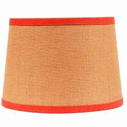 Burlap with Orange Trim Drum Lamp Shade - 14 inch