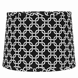 Black and White Greek Key Drum Lamp Shade - 10 inch