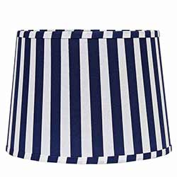 Blue and White Striped Drum Lamp Shade - 10 inch