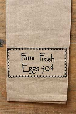 Farm Fresh Eggs 50 cents Towel