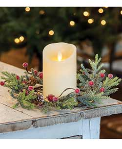 Mountain Pine Candle Ring with Berries