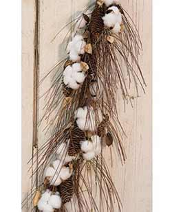 Cotton Ball & Pinecone 40 inch Garland