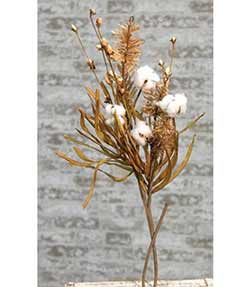 Cotton Ball & Fall Grass 28 inch Branch