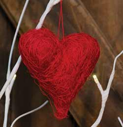 Red Sisal Heart Ornament - 3.5 inch