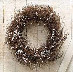 Angel Hair Vine Wreath with Snow - 10 inch