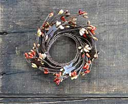 Pumpkin Spice Pip Berry Candle Ring with Stars - 2 inch