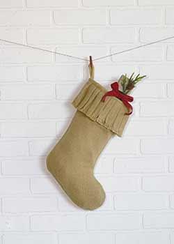 Festive Natural Burlap Ruffled Stocking