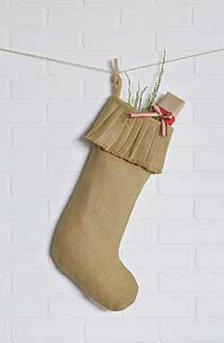 Festive Natural Burlap Ruffled Stocking - Long