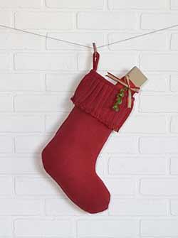 Festive Red Burlap Ruffled Stocking