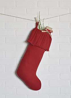 Festive Red Burlap Ruffled Stocking - Long