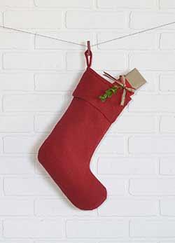 Festive Red Burlap Stocking