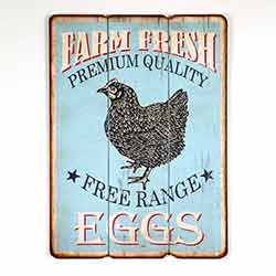 Free Range Eggs Wood Wall Sign