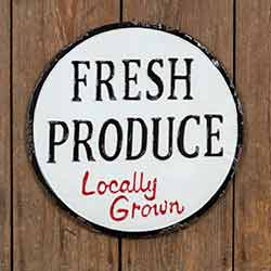 Fresh Produce Metal Sign