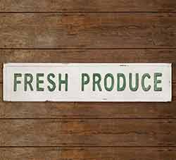 Fresh Produce Metal Wall Sign