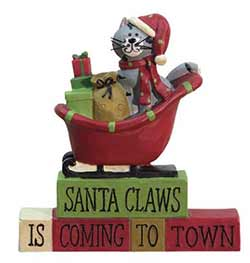 Santa Claws Cat in Sleigh