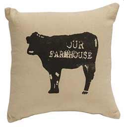 Our Farmhouse Cow Throw Pillow