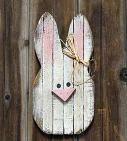 Large Lath Bunny Head Wall Decor