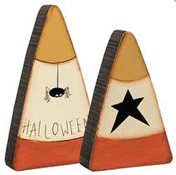 Halloween Candy Corn Shelf Sitters (Set of 2)