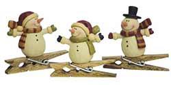 Primitive Snowman Clip Ornaments (Set of 3)